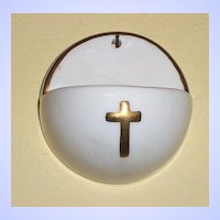 Small Crucifix Porcelain Holy Water Font Goebel