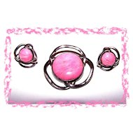 Pretty In Pink  Modernist Real  Gem Stone  Demi-Parure