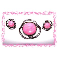 Pretty In Pink  Modernist Real  Gem Stone  Demi-Parure