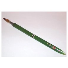 A Unique Vintage Gently Used  Green Casein Quill Spencer H.P. Accents