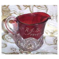 Ruby Flash Glass Miniature Pitcher Creamer M.R.J. Boyd 1909