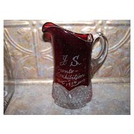 "7"" Souvenir  Ruby Glass Pitcher J.S. Toronto Exhibition 1914"