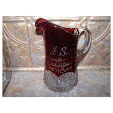 "7"" Souvenir  Ruby Glass Pitcher J.S. Toronto Exhibition 1914"