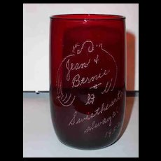 Ruby Glass Etched Puppy Lovers Too 1952 Jean & Bernie