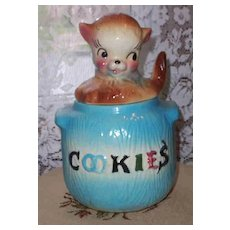 American Bisque  Pottery Puppy in Pot Cookie Jar Blue