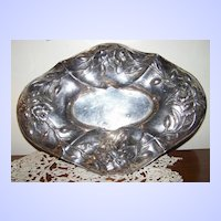 1920's Art Nouveau Quadruple Silver Plate Floral Tray E.G. Webster & Sons