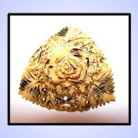 1950's High Relief Molded Camphor Celluloid Floral Pin / Brooch with Paint