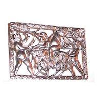 Large Mythological Scene Brooch Signed Coro Goat, Children at Play