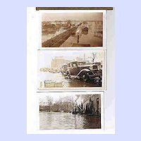 Vintage B&W Flood Pictures Original Paper Holder 1923
