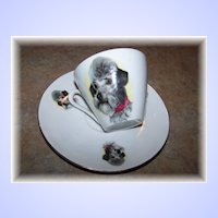 Delicate Porcelain Dog Tea Cup & Saucer Bavaria