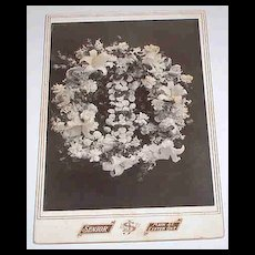 Late1800's B&W Post Mortem Memorial Cabinet Card Photograph Remembrance Funeral Flowers