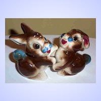 Hugging Bunny Rabbit Pottery Salt & Pepper Shakers