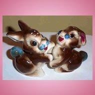 Hugging Bunny Rabbit Pottery Salt & Pepper Shakers