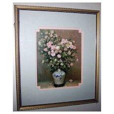 Framed Vintage Botanical  Rose & Daisy Floral Print Decorative Wood Frame