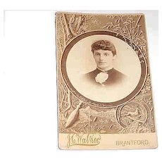 Sentimental Sepia Mourning Photograph  Woman in Mirror  Birds, Deer