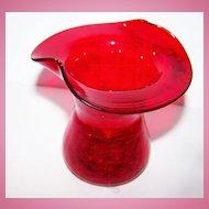 Deep Orangey Red Crackle Glass Vase