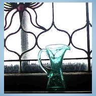 A Lovely Pale Blue Crackle Glass Pitcher
