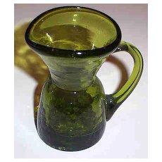 "3 1/2"" Olive Green Crackle Glass Pitcher"