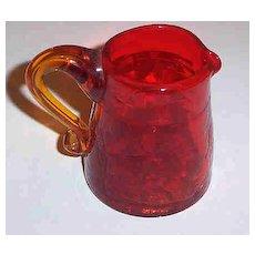 "Tangerine Crackle Glass Pitcher 2 3/4"""