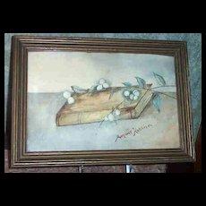 Sentimental Signed Watercolor Book Berries Branch Margaret Hutchison