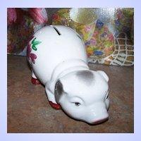 Charming Vintage Pottery Pig Piggy Bank Floral H.P. Accenting