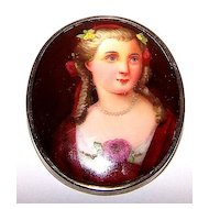 A Pretty Hand Painted Porcelain Portrait Pin / Brooch Lovely Lady C Clasp
