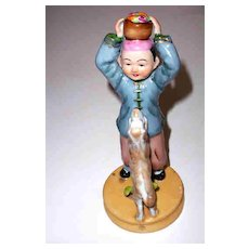 Oriental Boy & Dog Hand Painted  Ceramic Figurine