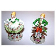 Miniature Hand Painted Porcelain Figurines Colonial Man & Woman
