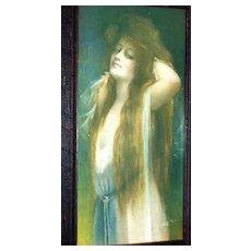 Rare Framed Vintage Bryson Risque Calendar Girl Early 1900's