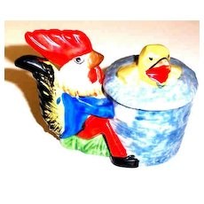 Easter  Egg Cup / Cache Pot Rooster Chick Hand Painted MIJ