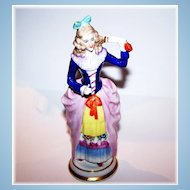 Colorful Sitzendorf Porcelain Colonial Lady Figurine Holding a Fan