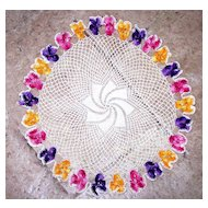 "Vintage Crochet Doily 14"" across Round Floral Decorations Yellow, Pink, Purple"