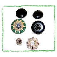 5 Vintage Button Lot Early Plastic, Rhinestone , Glass