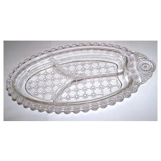 Dewdrop Raindrop Quilted Lacey Beaded Jewel Press Glass Divided Dish For Relish