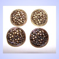 Lot of 4 Vintage Floral 3 Leaf Clover Motif Metal Buttons