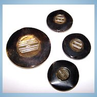 4 Vintage Celluloid Buttons Tested Positive