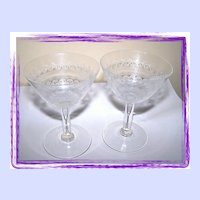 Delicate Vintage Etched  Champagne Glass Set (2)