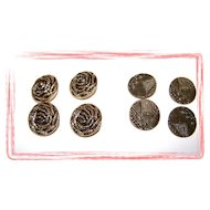 Lot of 8 Decorative Metal / Tin Buttons