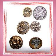 Lot ( 6 ) Art Nouveau Style Vintage Metal / Tin Buttons Decorative