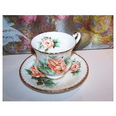 Noritake Kent 4 Tea Cups & 6 Saucers Silver Pink Flower Green Leaves Lustrous Antiques