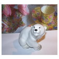 Wonderful Quality Polar Bear Porcelain Figurine Lomonosov