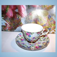 Shafford Hand Decorated Chintz Tea Cup & Saucer