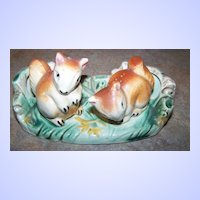 Ceramic Hand Painted Squirrel Salt & Pepper Shakers with Stand