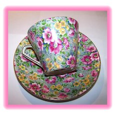 "Chintz Tea Cup & Saucer "" Briar Rose "" Lord Nelson"