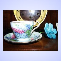 Lovely China Floral Spikes Tea Cup & Saucer Aynsley England