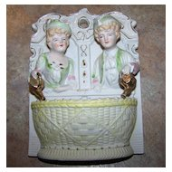 Hand Painted Fern Japan Bisque Colonial Couple Match Striker Holder Wall Pocket