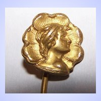 Lovely Art Nouveau Style Portrait Stick Pin