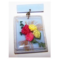 Vintage Plastic Shadow Box Pin Dried Floral Arrangement