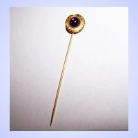 Pretty Vintage Purple Glass Cabochon Stick Pin