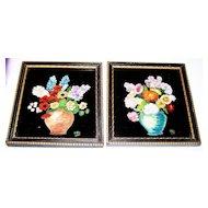 Framed Hand Painted On Black  Glass Flower / Floral Motif  Art